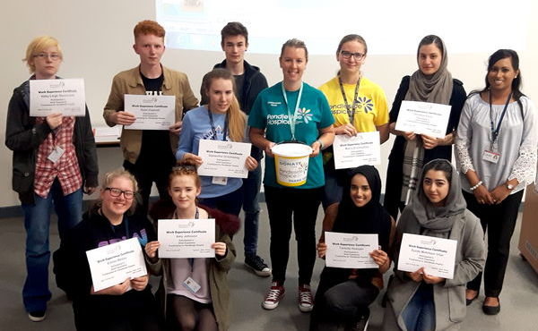 Thomas Whitham students take on fundraising work experience for Pendleside